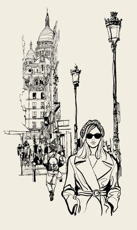 Street in Paris with a view on Montmartre (rue Briquet) - vector illustration (Ideal for printing on fabric or paper, poster or wallpaper, house decoration)