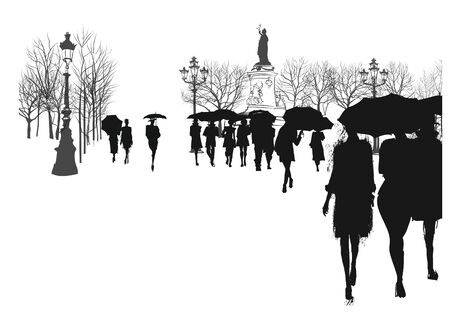 People under rain in a city - vector illustration  (Ideal for printing on fabric or paper, poster or wallpaper, house decoration) Illusztráció