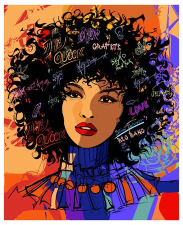 Beautiful young afro-american fashion model - vector illustration (Ideal for printing on fabric or paper, poster or wallpaper, house decoration) Illusztráció