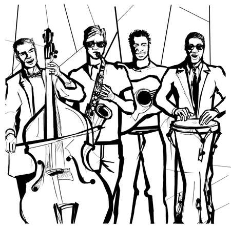 Drawing of a Jazz band for coloring book - vector illustration (Ideal for coloring book)