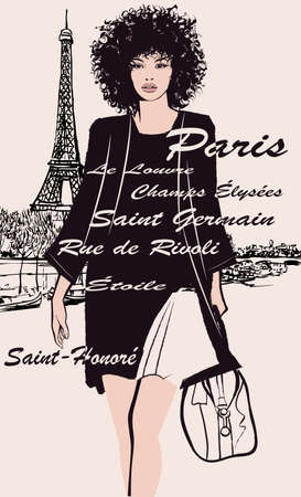 Woman in black dress carrying travel bag with the Eiffel tower on the background - vector illustration (Ideal for printing on fabric or paper, poster or wallpaper, house decoration) French words refer to places in Paris