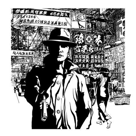 Gangster with a gun in chinatown - vector illustration (Ideal for printing on fabric or paper, poster or wallpaper, house decoration) All chines caracters are fake