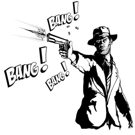 Gangster with a gun in the style of 1950 black and white movie - vector illustration (Ideal for printing on fabric or paper, poster or wallpaper, house decoration)
