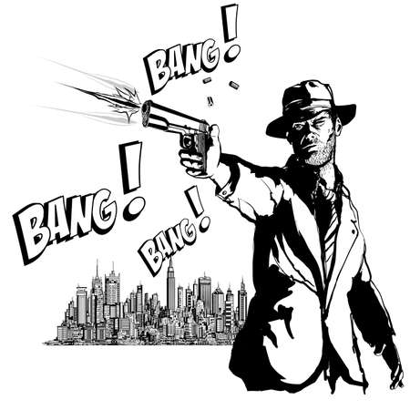 Gangster with a gun in New York city - vector illustration (Ideal for printing on fabric or paper, poster or wallpaper, house decoration) ベクターイラストレーション