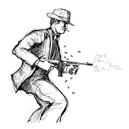 Gangster with a machine gun - vector illustration (Ideal for printing on fabric or paper, poster or wallpaper, house decoration)