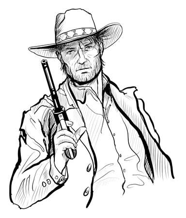 Cowboy with hat and revolver - vector illustration