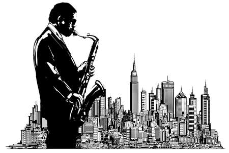 Jazz saxophonist in New York - vector illustration