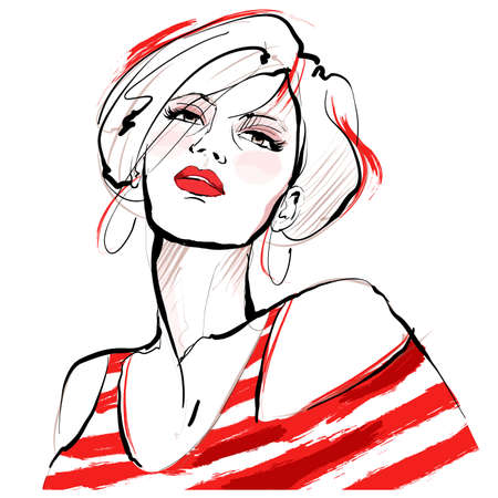 Beautiful young fashion model with red striped T-shirt - vector illustration Illusztráció