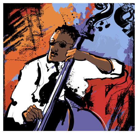 playing double bass - vector illustration Illusztráció