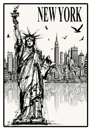 Statue of Liberty, New York, USA - vector illustration 矢量图像