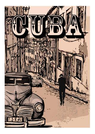 Vintage classic american car in a street of Havana, Cuba - vector illustration