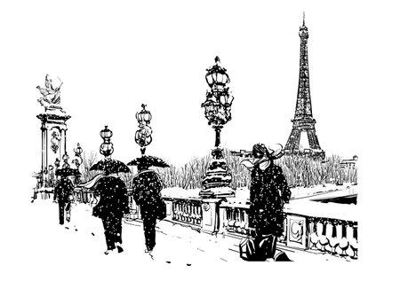 Pont Alexandre III under snow, Paris, France - vector illustration Ilustração