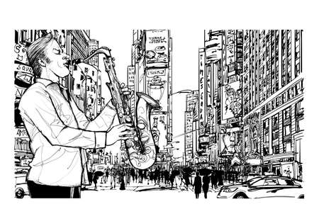 Jazz musician playing the saxophone in New York - vector illustration