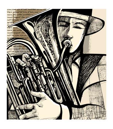Blow the euphonium - vector illustration (text Lorem Ipsum)