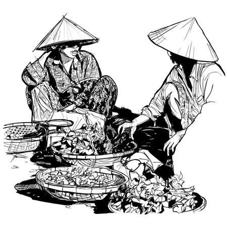 Sellers on the local market in Vietnam - vector illustration Vector Illustration