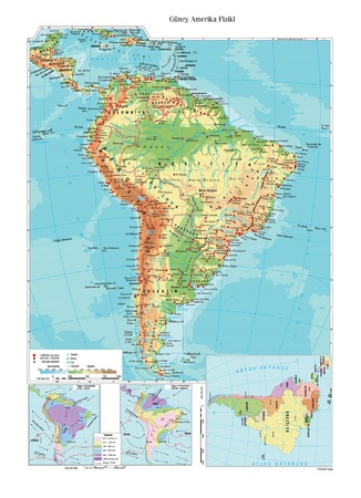 south america: Physical map of South America