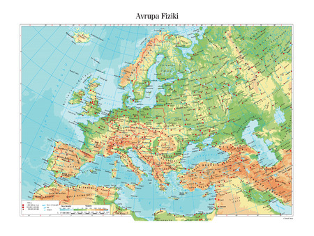 europe map: Physical map of Europe Illustration