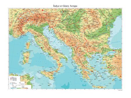mapa politico: Physical map of Italy and South Europe