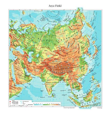 mapa mundi: Mapa físico de Asia
