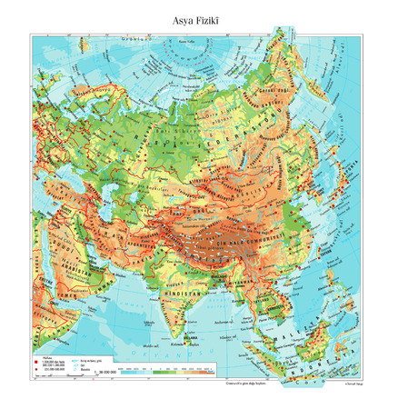 the map of the world: Physical map of Asia Illustration