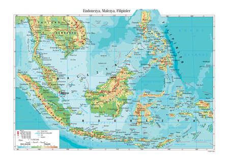 philippines: Indonesia Malaysia Philippines Topographic Map