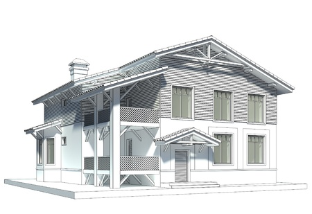 Design of the chalet style cottage with tiled roof photo