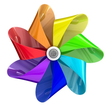 wheel spin: Pinwheel toy with seven colour blades