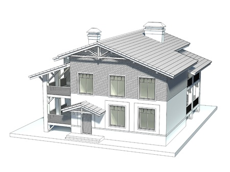 house outline: Design of the chalet style cottage with tiled roof Stock Photo