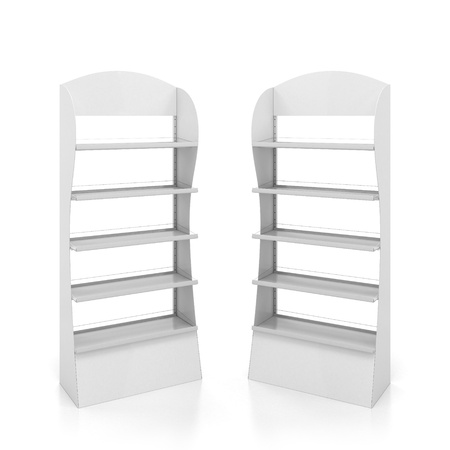 three shelves: Two counters with white metal shelves Stock Photo