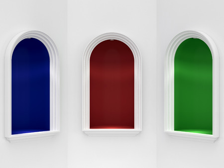 hollow walls: Three color niches with arch framing Stock Photo