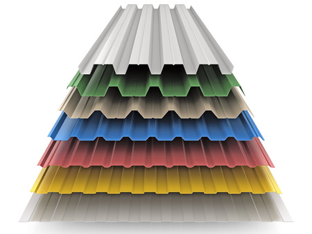 metales: de color de acero placas GOFFERED para la decoración del techo Foto de archivo