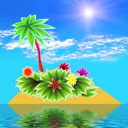 applique flower: paradise island  Stock Photo
