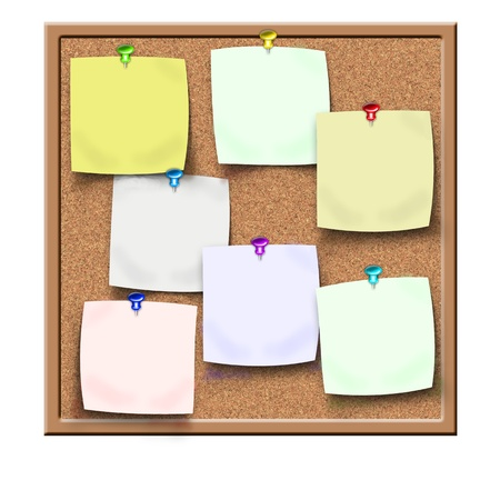 board pin: cork board with sticker reminders