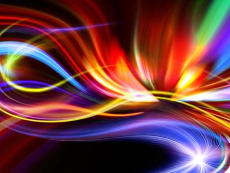 arcobaleno astratto: disegno astratto colorato su sfondo nero Archivio Fotografico
