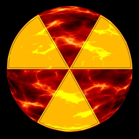 radiation hazard sign on the background of ecological disaster Stock Photo - 9128012