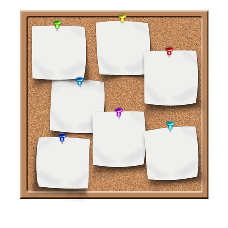 memo pad: cork notice board with blank sticker notes Stock Photo