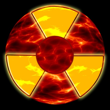 radiation hazard sign on the background of ecological disaster
