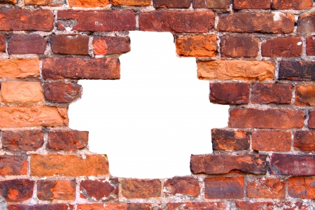 hole in the old brick wall