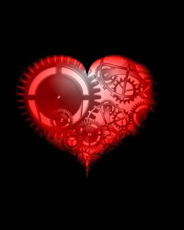 abstract design steampunk heart  Standard-Bild