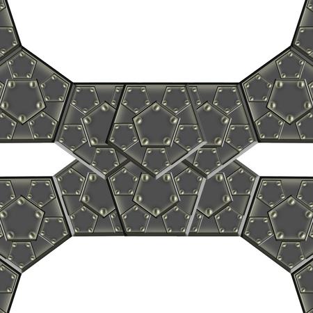 solidity: metallic armor plates Stock Photo