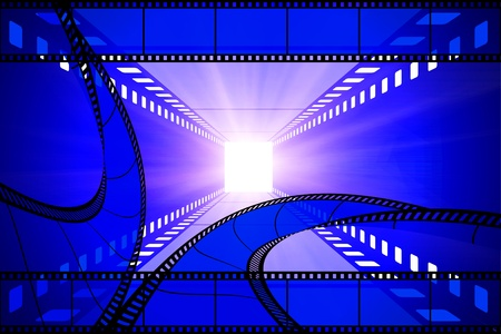 cinema movie projector and film photo