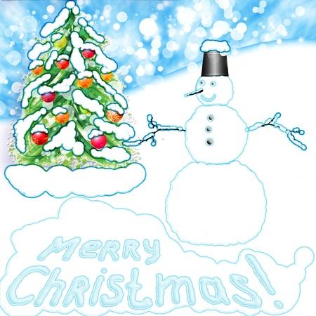 christmas snowman and christmas fir  photo