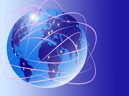 Internet on the world map Stock Photo - 10213756
