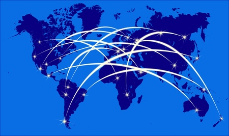 Internet on the world map photo