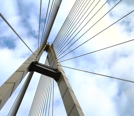 steel cable: cable-stayed bridge in the sky Stock Photo