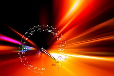 speedometer on night road photo