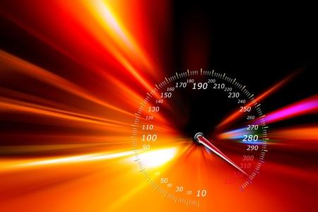 compteur de vitesse: vitesse de mouvement d'acc�l�ration sur la route de nuit