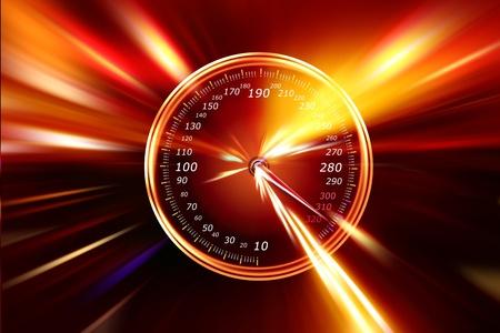 speedometer on night highway