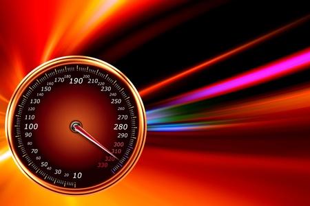speedometer on night road