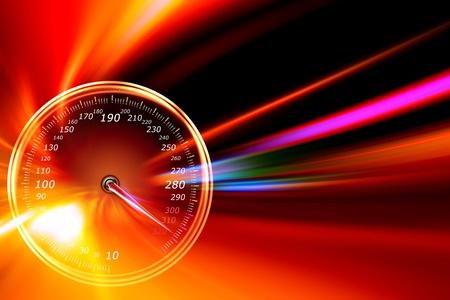 tachometr na noční silnici